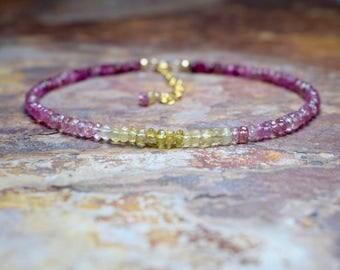 Pink Tourmaline & Yellow Aquamarine 14k Gold Fill Bracelet, March Birthstone, Multicoloured Bracelet, Handmade Jewellery UK, Wife Gift