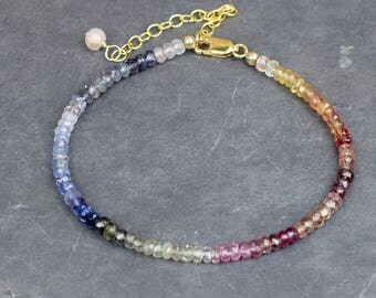 Multicolour Sapphire Bracelet, Sapphire & 14k Gold Fill Gemstone Bracelet, September Birthstone, Handmade Jewelry UK, Wife Gift
