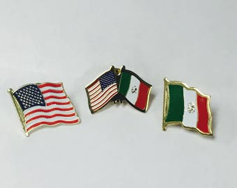 Mexican - American Flag Pin Set