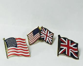 United Kingdom - American Flag Pin Set
