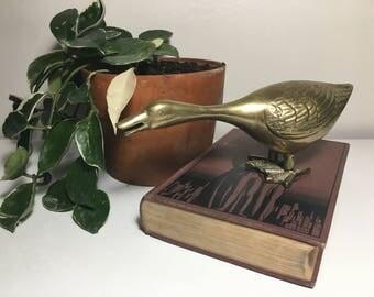 Vintage Brass Duck Figurine / Charm