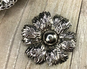 Vintage Silver Pin, Vintage Jewelry, Vintage Pin, Flower Pin, Pins - V