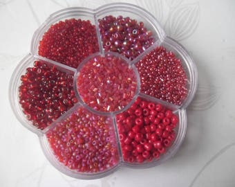 x 1 box flower + 7000 mixed red tone glass seed beads