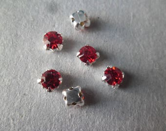 x 10 rhinestones 5 mm red glass crystal on claw silver thimble