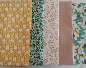 Fat Quarter Mini Bundle, Quilting Fabric, Fat Quarters, Green Fabric, Yellow Fabric, Brown Fabric