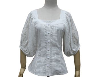 Medieval Peasant Pirate Short Sleeved  Retro Vintage Victorian  Renaissance Peasant Blouse Caribbean Wench Medieval Costume