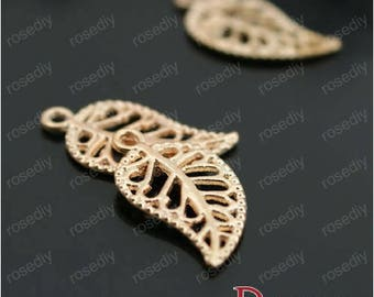 20 charms 16 * 10mm gold leave F26849
