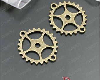 10 bronze 28 * 25MM D28002 gear charms