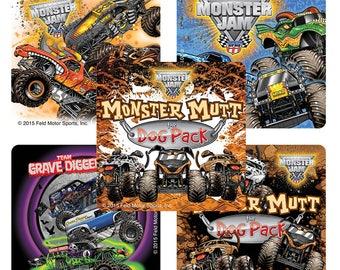 "25 Monster Jam Truck Trios Stickers, 2.5"" x 2.5"" Each"