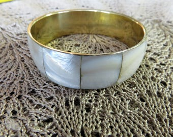 Vintage Mother of Pearl Gold-Toned Metal Woman's Bangle