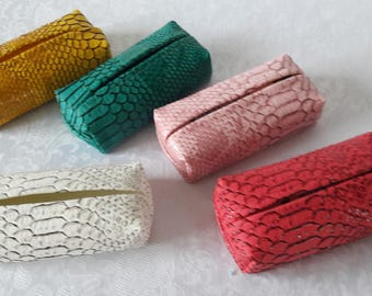 Lot cases with handkerchiefs in faux snake leather, set of 5, color mustard, green, pink, fuchsia and ivory white