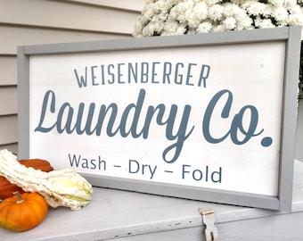 """Custom 25-1/2"""" x 13-1/2"""" x 1-1/2"""" Laundry Sign With Frame, Laundry Co. Wash Dry Fold, Whitewashed Laundry Sign"""