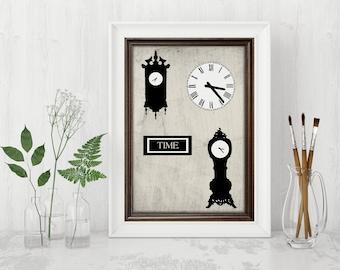 Clock print vintage outline