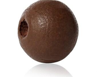 PBois36 - Set of 30 wooden pearls of Cypress form dark brown round, diameter: 8mm