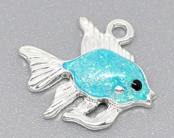 Enameled blue fish charm PBE2 pendant exotic 19x17mm