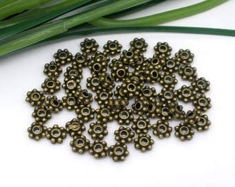 PM79 - Set of 22 beads washers metal color bronze 4x4mm