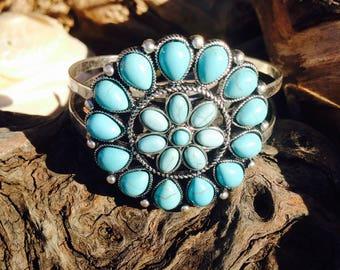 Turquoise Cuff Bracelet - Turquoise Bracelet- Turquoise Jewelry- American Indian - Boho Style - Gypsy Style - Hippie Style - Bohemian