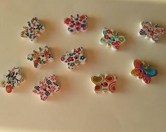 10 buttons multicolor butterflies 14 × 19mm No. 328