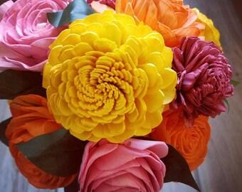 Spring flower arrangement, spring wood flowers, spring decor, spring colors, sola wood flower decor