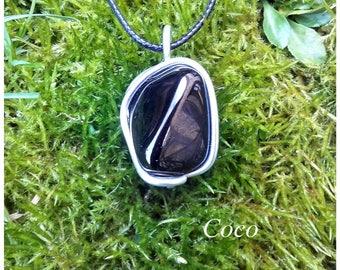 Black tourmaline stone pendant