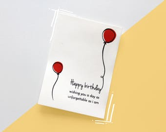 Birthday card - Balloons - One sided (silkscreen)