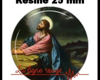 Round cabochon resin 25 mm - Jesus - (38) - Paste christ, religion, Catholic, Christian