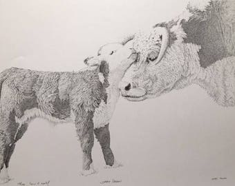 Drawing Pen and Ink Drawing, Stippling, Cattle, Cow and Calf