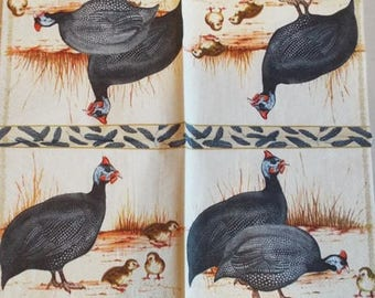 PAPER TOWEL Guinea fowl and their chicks #AN050