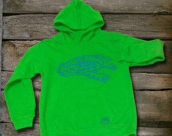 Green boy sweatshirt with turtle motif