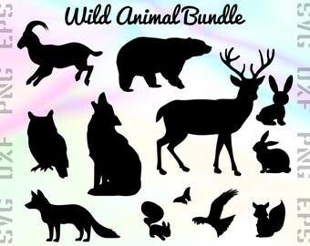 Wild Animal SVG Files - Animal Dxf Files - Animal Clipart - Animal Cricut Files - Animal Cut Files - Animal Silhouette - Svg, Dxf, Png, Eps