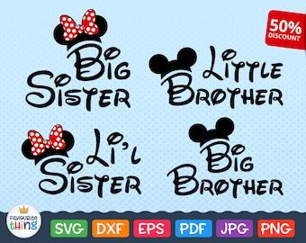 Big Brother Svg, Big Sister Svg Little Brother, Li'l Sister Svg Mickey Mouse Ears Svg Sibling Wording Svg Clip art Disney Files Svg Cricut