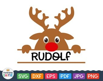 Reindeer Rudolph Christmas Monogram Svg Separate Frame for Boy Name, Kids Christmas Designs clip art for Cricut, Silhouette cut file dxf png