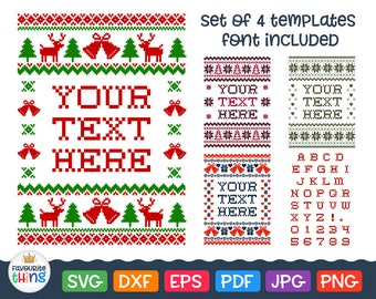 Christmas Ugly Sweater Svg Cross stitched Font Svg Vinyl Decal Tshirt Design Cut File Clip art for Cricut Silhouette Studio Dxf Png Pdf Eps
