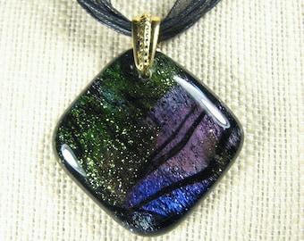 Dichroic Fused Glass Pendant - Deep Diamond