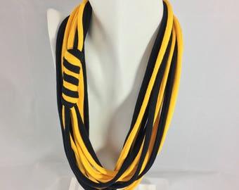 Gold & black NeckThreads, spirit wear necklace