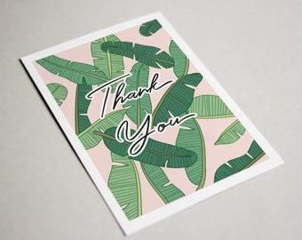 Tropical Thank You Card, Banana Leaf Thank You Card, Palm Leaf Thank You Card, Thank You Card, Tropical Leaf Thank you Card, Palm Tree Card