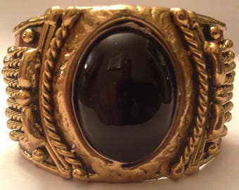 Vintage Art Deco Copper Cuff Bracelet with black stone Unique
