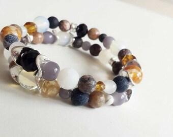 Two-piece gemstones bracelet