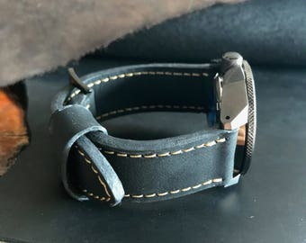 Handcrafted Black Crazy Horse Leather Watch Strap/Band