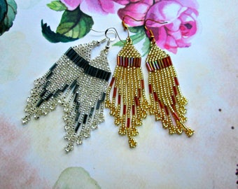 Silver Gold Color/earrings from beads/long earrings/American style/handmade