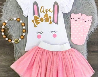 Girls Easter Personalized Outfits, Girls Easter Outfit, Girls Easter Dress, Baby, Toddler Easter Outfit, Easter Bunny Shirt, Monogram Shirt
