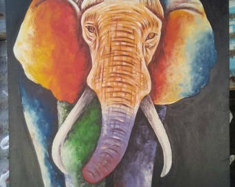 Wallhanging,canvas painting,Africa art,Home decor,Wall decor painting,elephant painting,Africa wallhanging,Animal painting,Living room decor