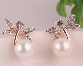 Lovely Design Gold Plated with Pearl Earrings