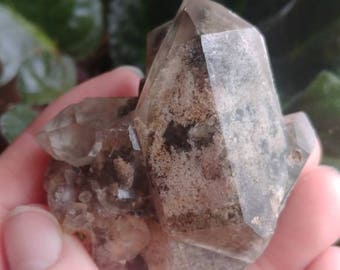 Shamanic Dreamstone with cluster of double terminated crystals / Scenic Quartz / Large Lodolite / Natural lodolite point