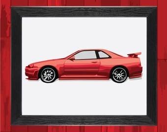 Nissan Skyline GT-R R34 Art Print | GTR Poster | R34 Poster Print !