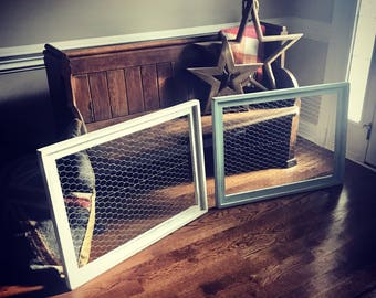 Large Wood Framed Chicken Wire, Rustic Home Decor