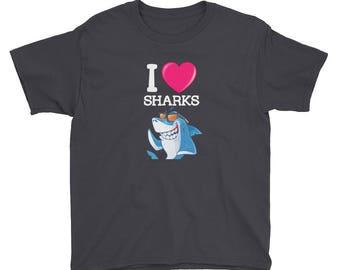 I love sharks - valentines gift - valentines shirt - valentines day - sharks - I love shark week - shark shirt - great white shark - shark