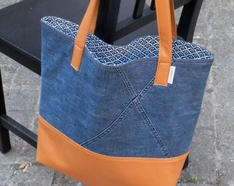 Recycled denim, faux leather camel with coordinated lining