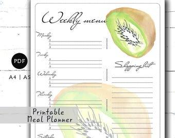 Kiwi weekly meal planner A4 A5 Weekly menu planner Grocery list printable Shopping list Dinner planning Food planner Meal organizer