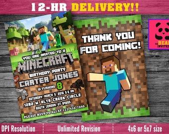 Mine Themed Birthday Invitation with FREE Thank you Card! Minecraft Invitations,Minecraft birthday party invites, Minecraft party supplies
